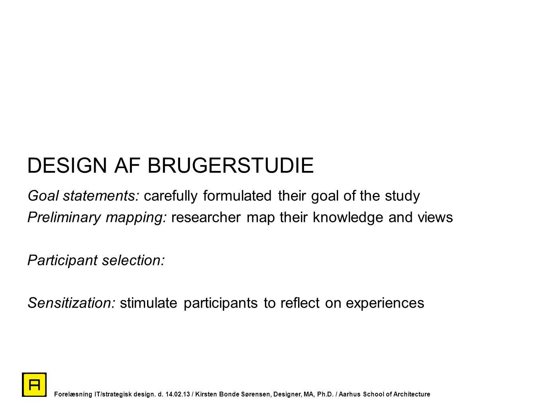 DESIGN AF BRUGERSTUDIE