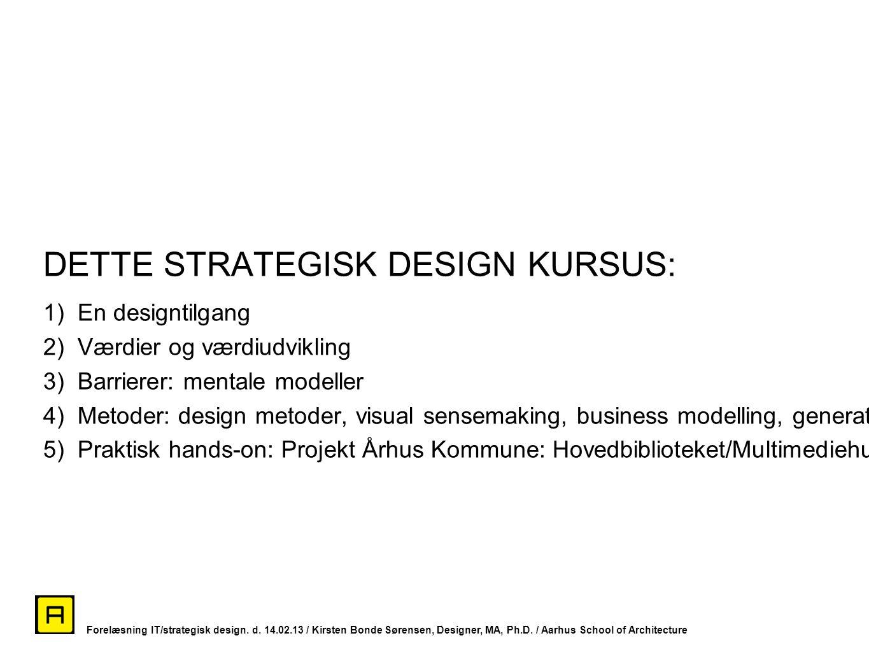 DETTE STRATEGISK DESIGN KURSUS: