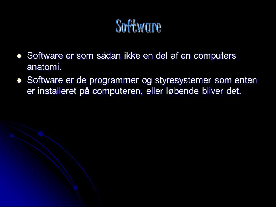 Software Software er som sådan ikke en del af en computers anatomi.