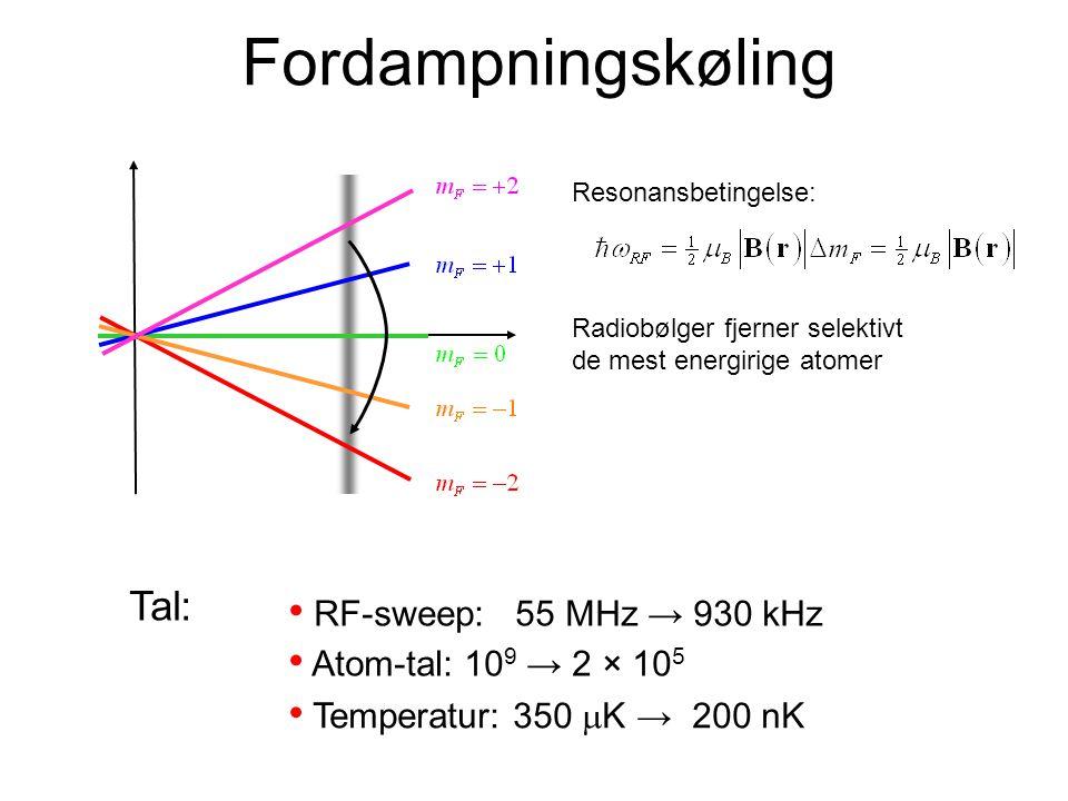 Fordampningskøling Tal: RF-sweep: 55 MHz → 930 kHz