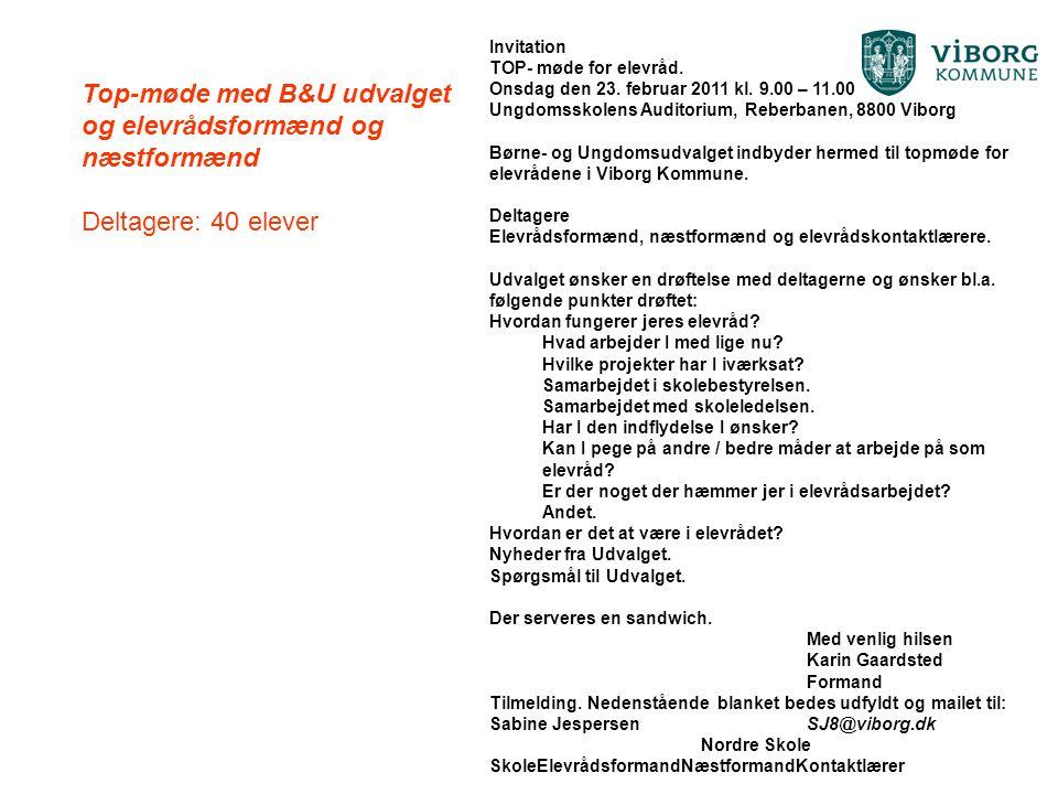 Top-møde med B&U udvalget og elevrådsformænd og næstformænd