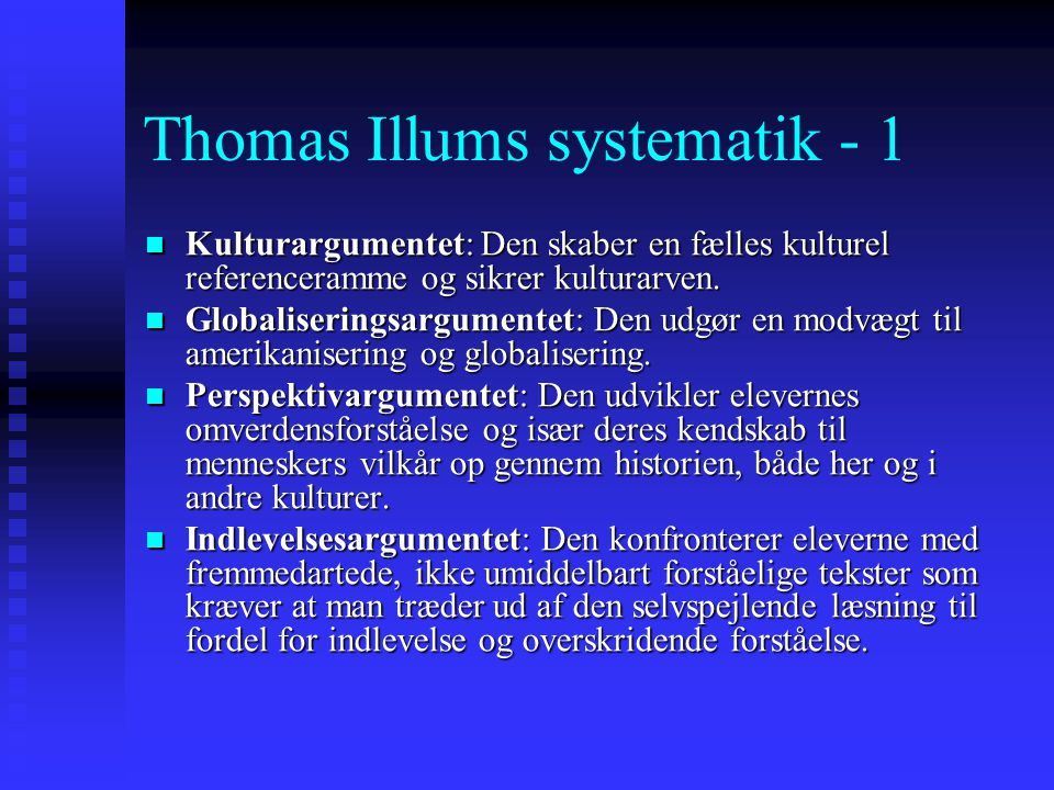 Thomas Illums systematik - 1