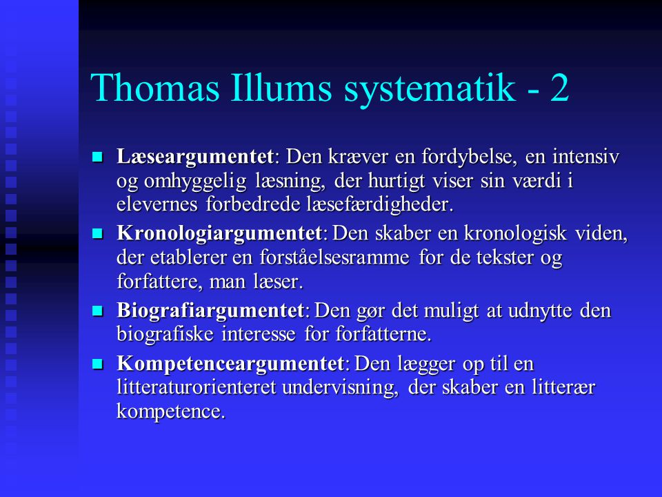 Thomas Illums systematik - 2