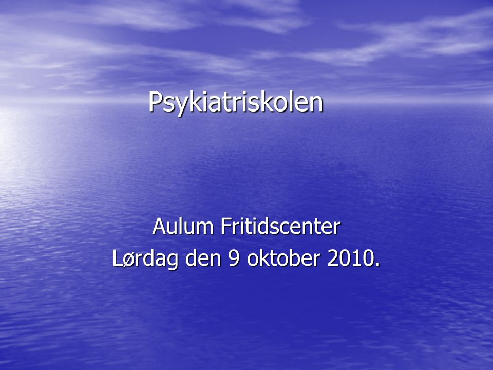 Aulum Fritidscenter Lørdag den 9 oktober 2010.