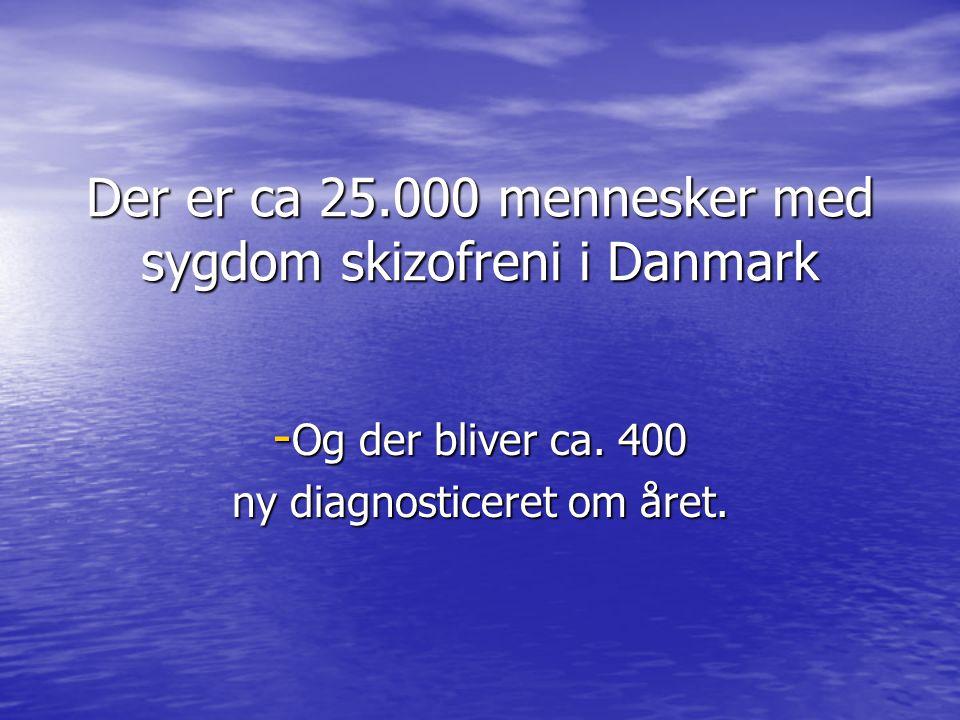 Der er ca 25.000 mennesker med sygdom skizofreni i Danmark