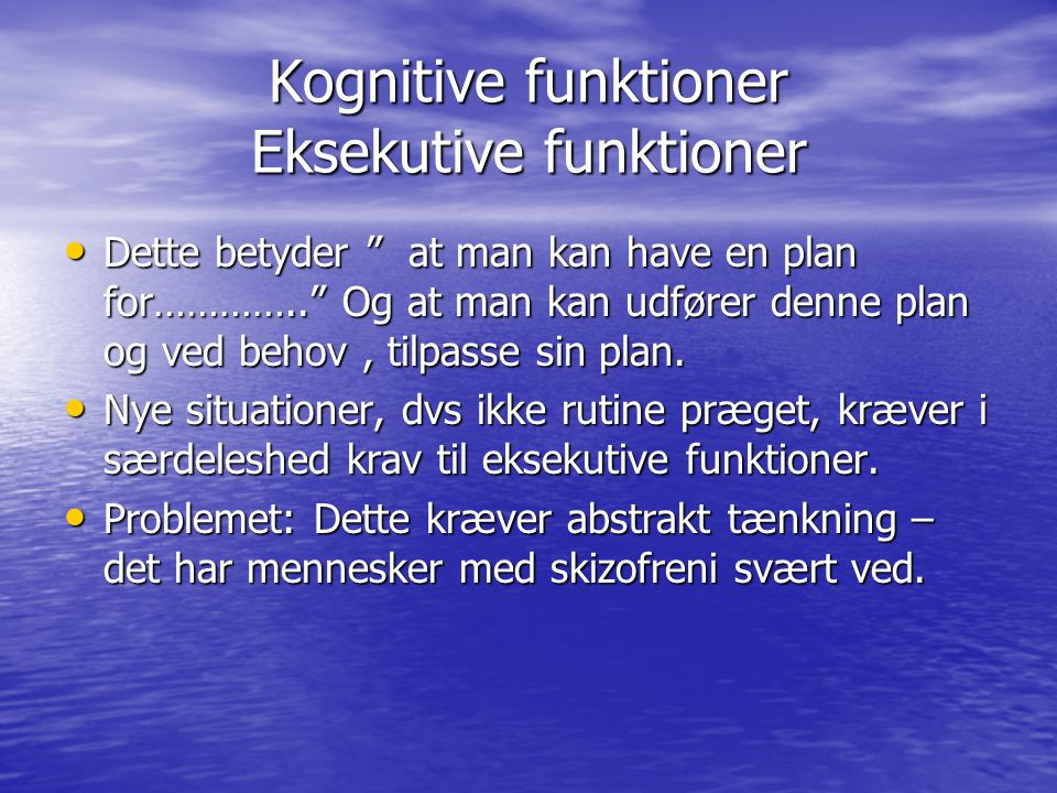 Kognitive funktioner Eksekutive funktioner