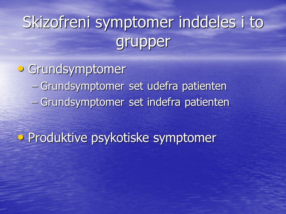 Skizofreni symptomer inddeles i to grupper