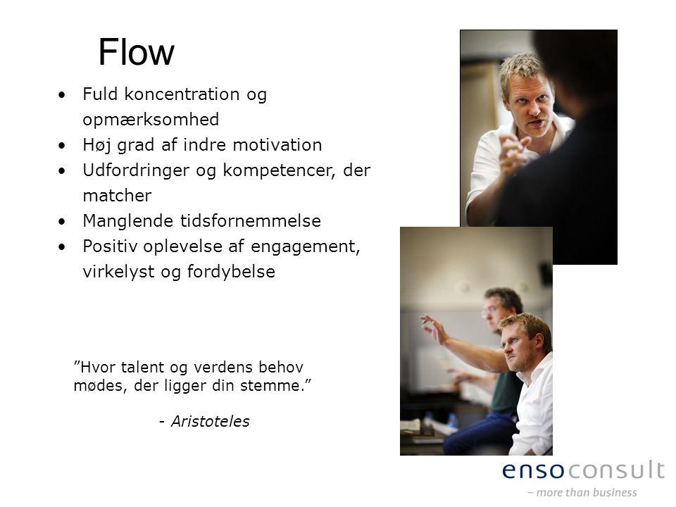 Flow Fuld koncentration og opmærksomhed Høj grad af indre motivation