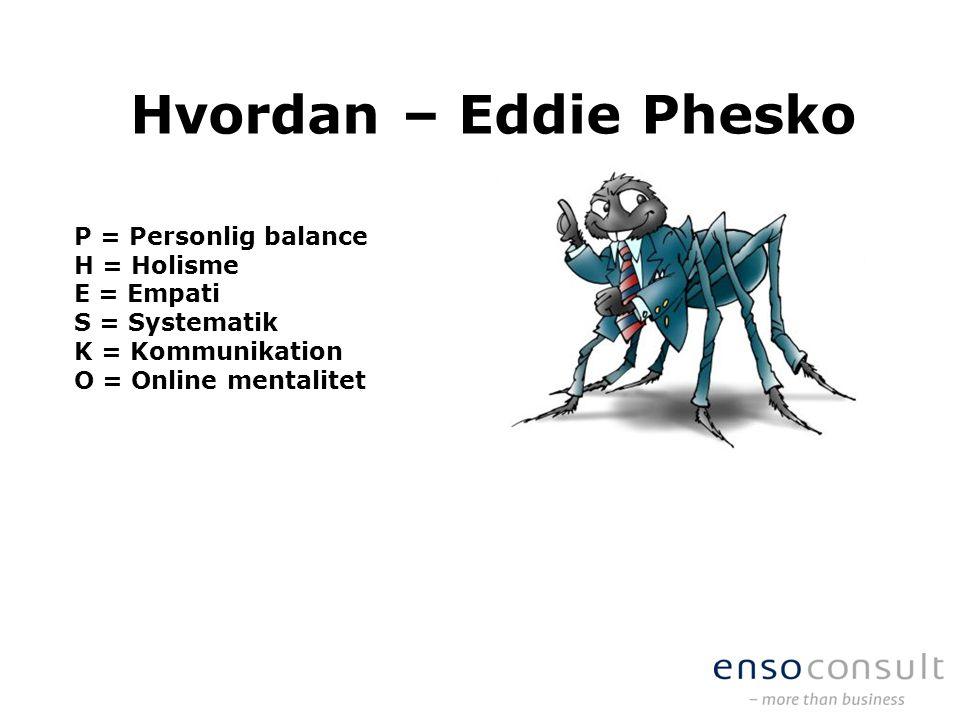 Hvordan – Eddie Phesko P = Personlig balance H = Holisme E = Empati
