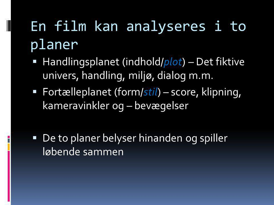 En film kan analyseres i to planer