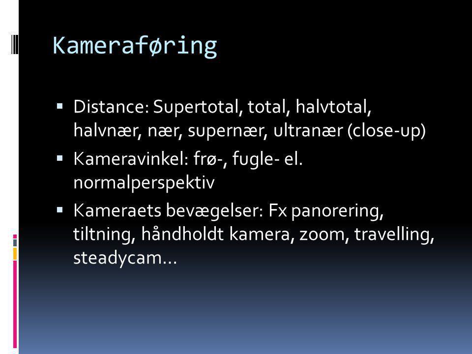 Kameraføring Distance: Supertotal, total, halvtotal, halvnær, nær, supernær, ultranær (close-up) Kameravinkel: frø-, fugle- el. normalperspektiv.