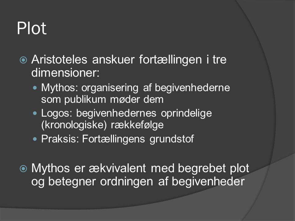 Plot Aristoteles anskuer fortællingen i tre dimensioner: