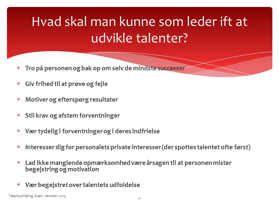 Hvad skal man kunne som leder ift at udvikle talenter