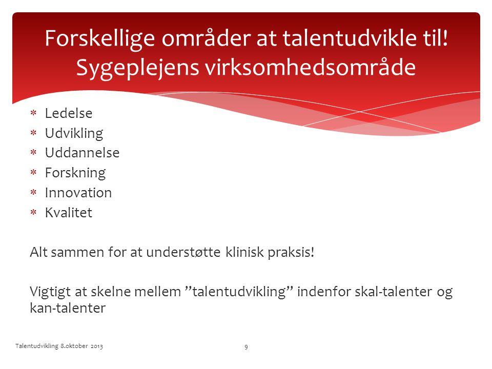 Forskellige områder at talentudvikle til! Sygeplejens virksomhedsområde