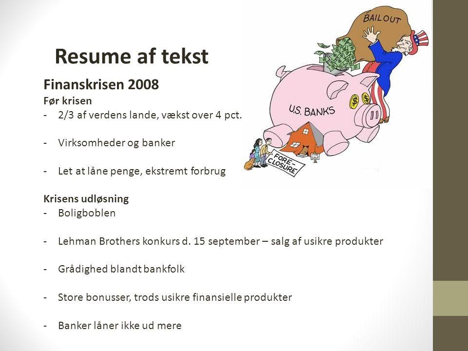 Resume af tekst Finanskrisen 2008 Før krisen