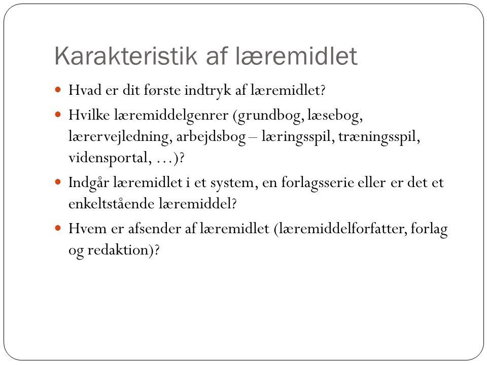 Karakteristik af læremidlet