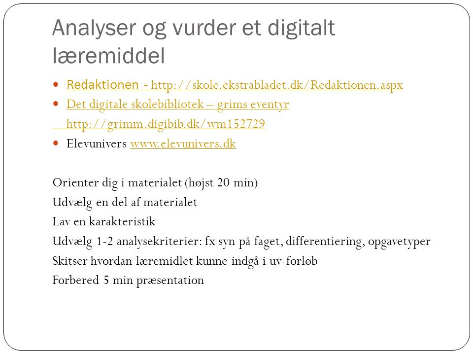 Analyser og vurder et digitalt læremiddel