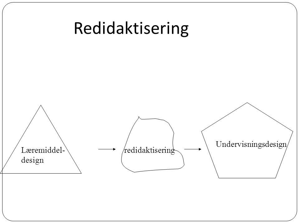 Redidaktisering redidaktisering Læremiddel- design Undervisningsdesign