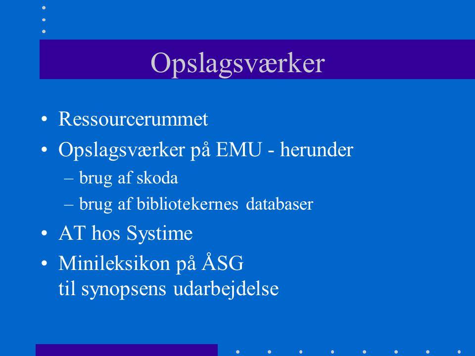 Opslagsværker Ressourcerummet Opslagsværker på EMU - herunder