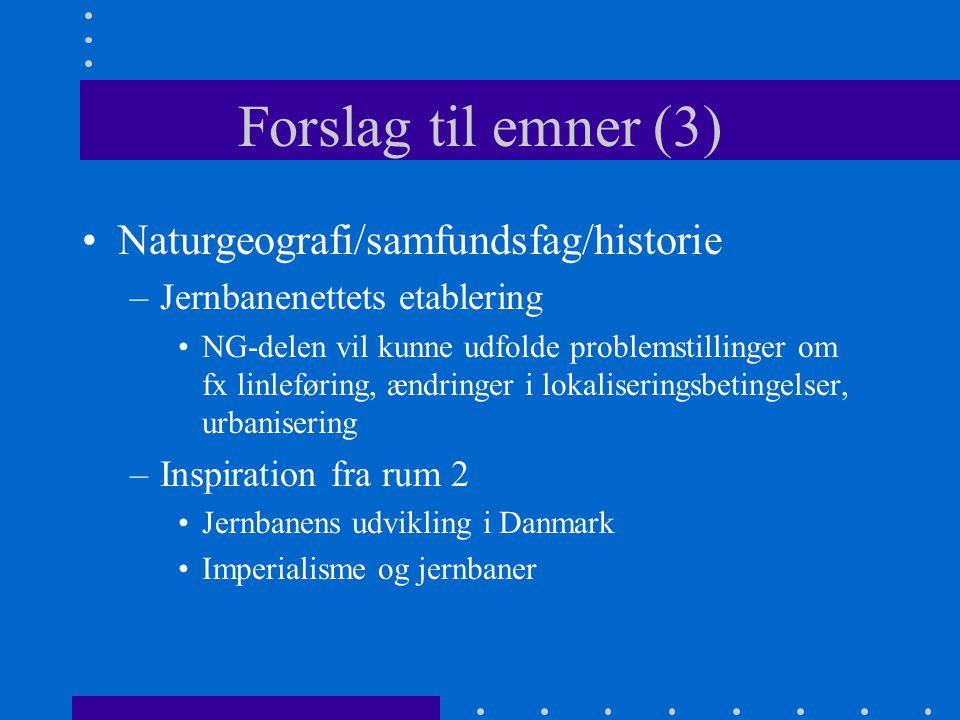 Forslag til emner (3) Naturgeografi/samfundsfag/historie