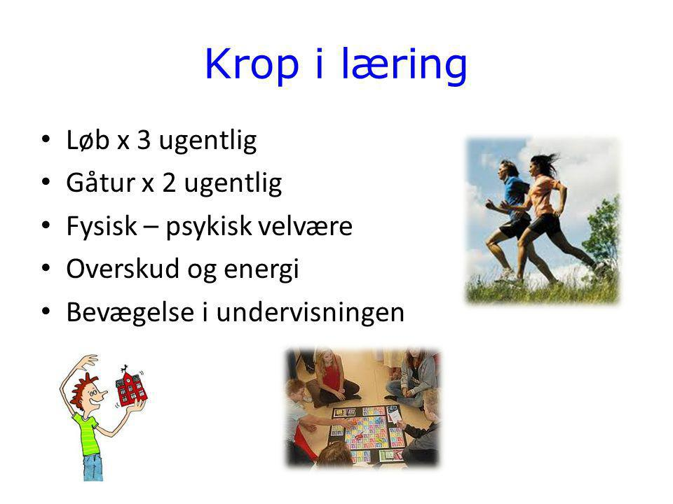 Krop i læring Løb x 3 ugentlig Gåtur x 2 ugentlig