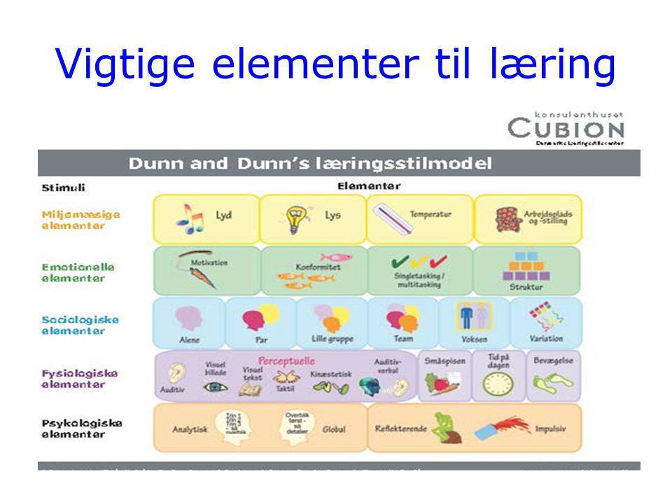 Vigtige elementer til læring