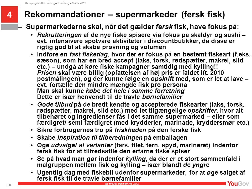 Rekommandationer – supermarkeder (fersk fisk)