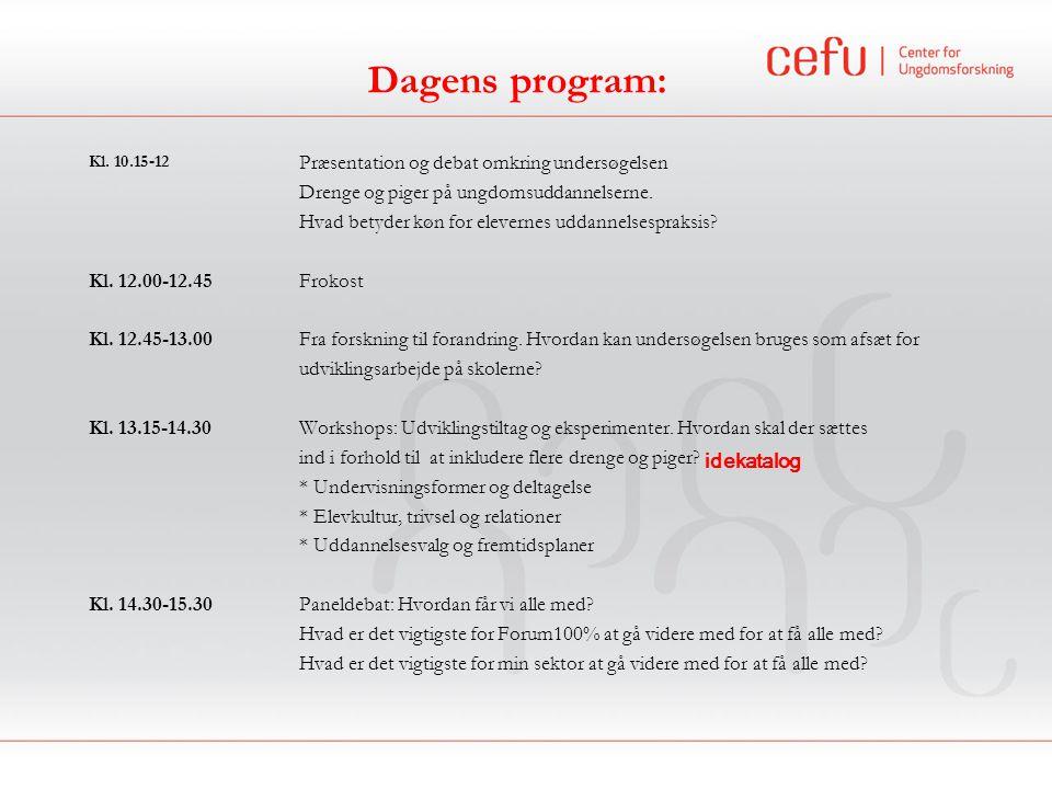 Dagens program: Drenge og piger på ungdomsuddannelserne.