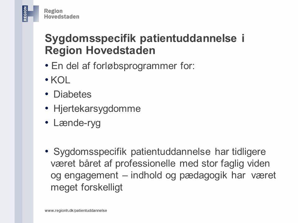 Sygdomsspecifik patientuddannelse i Region Hovedstaden