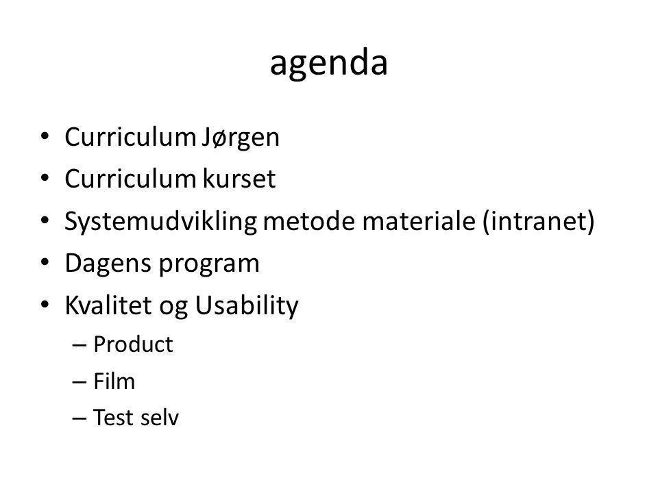 agenda Curriculum Jørgen Curriculum kurset