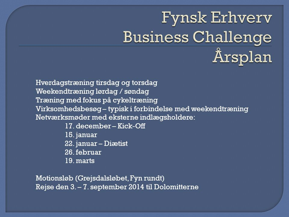 Fynsk Erhverv Business Challenge Årsplan
