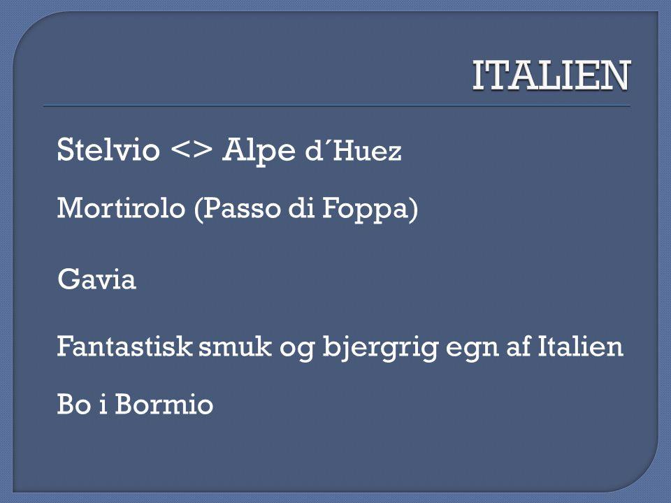 ITALIEN Stelvio <> Alpe d´Huez Mortirolo (Passo di Foppa) Gavia