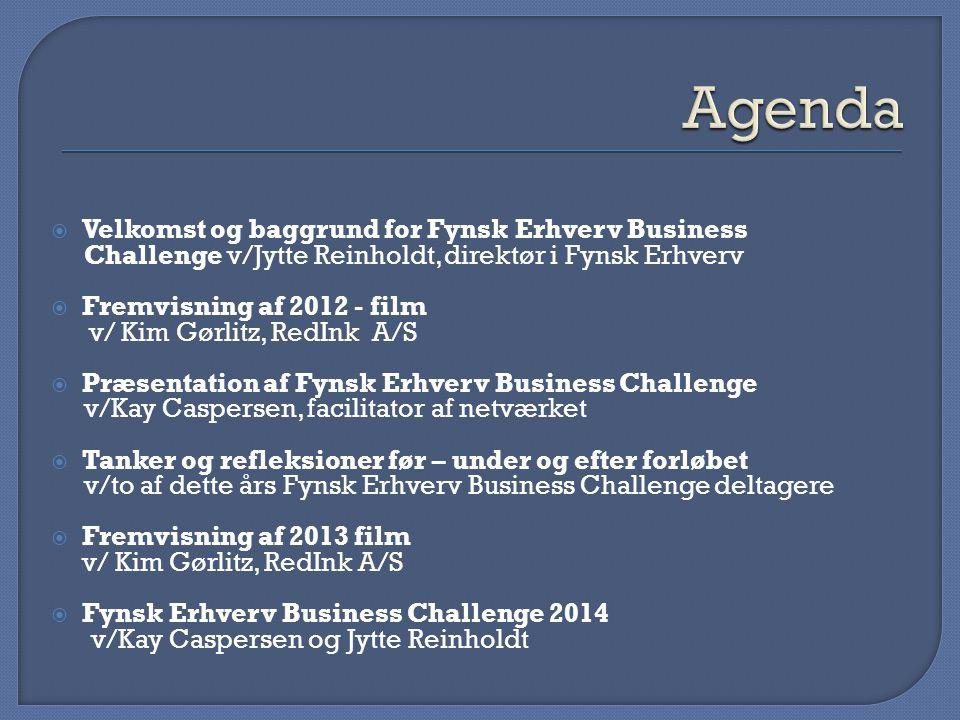 Agenda Velkomst og baggrund for Fynsk Erhverv Business