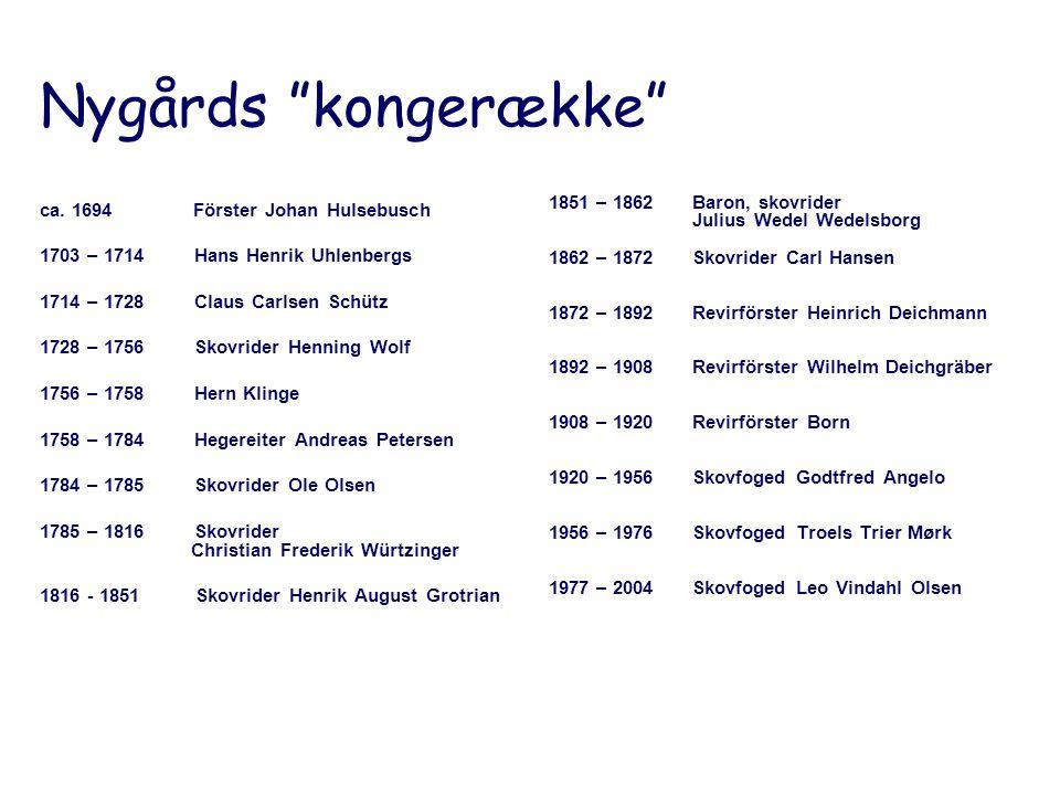 Nygårds kongerække 1851 – 1862 Baron, skovrider