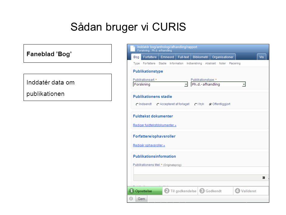 Sådan bruger vi CURIS Faneblad 'Bog' Inddatér data om publikationen