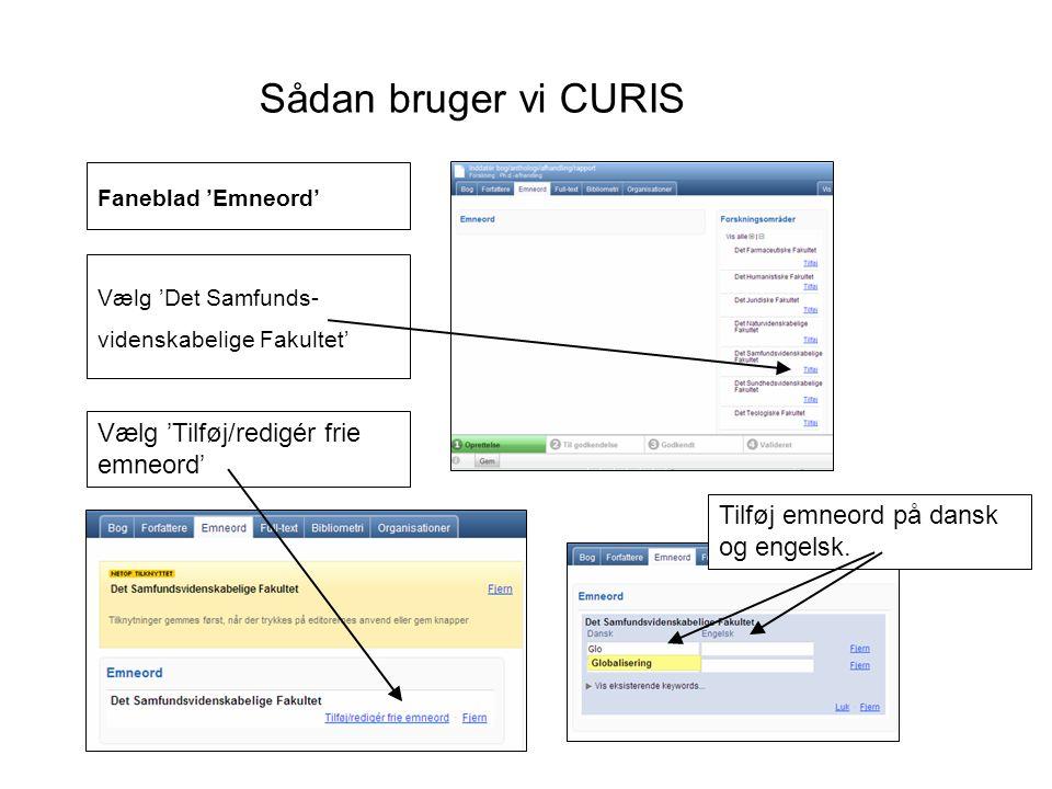 Sådan bruger vi CURIS Vælg 'Tilføj/redigér frie emneord'