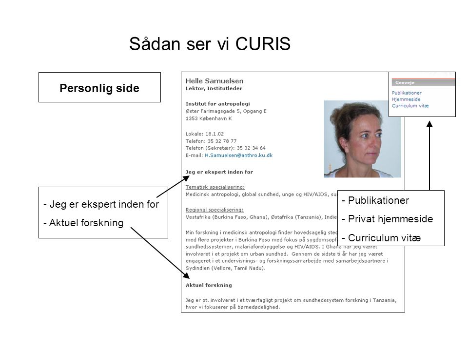 Sådan ser vi CURIS Personlig side