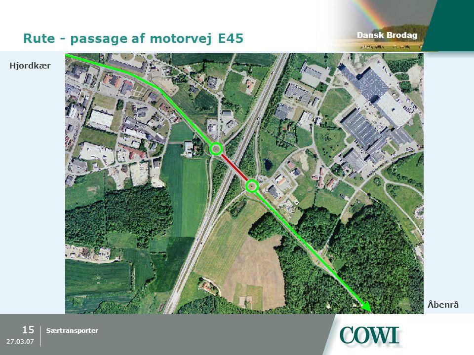Rute - passage af motorvej E45