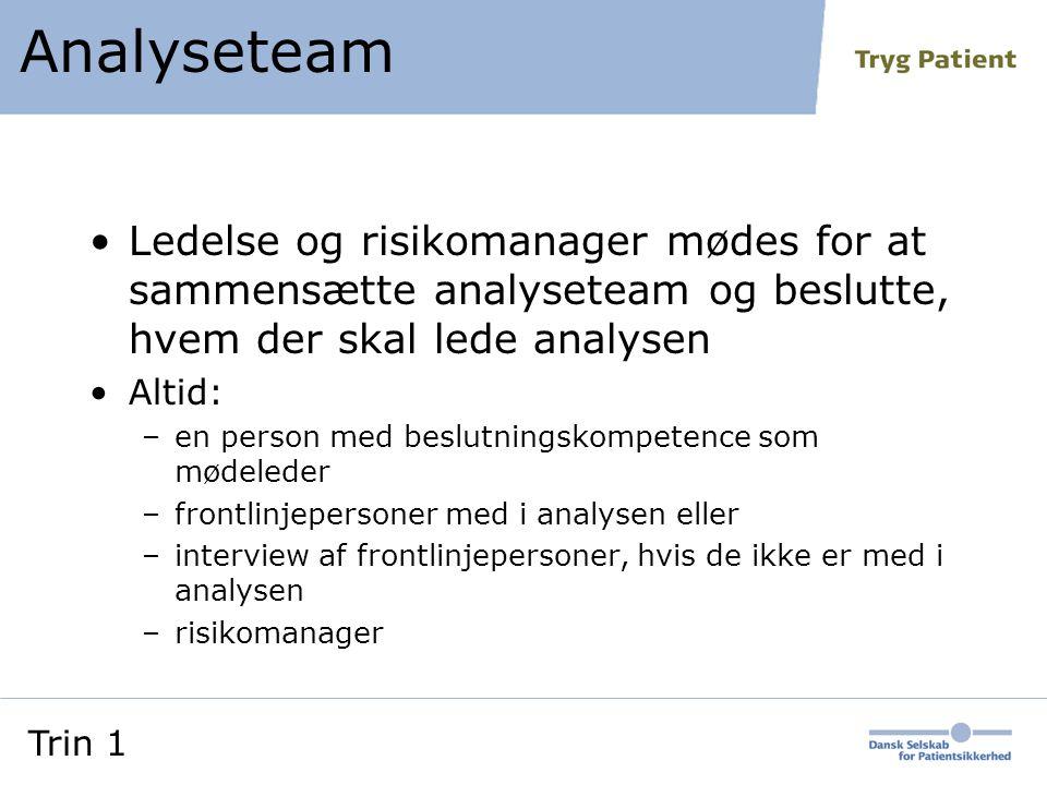 Analyseteam Ledelse og risikomanager mødes for at sammensætte analyseteam og beslutte, hvem der skal lede analysen.