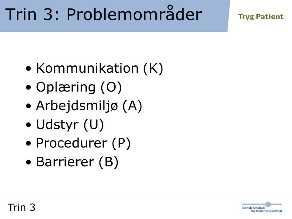 Trin 3: Problemområder Kommunikation (K) Oplæring (O) Arbejdsmiljø (A)
