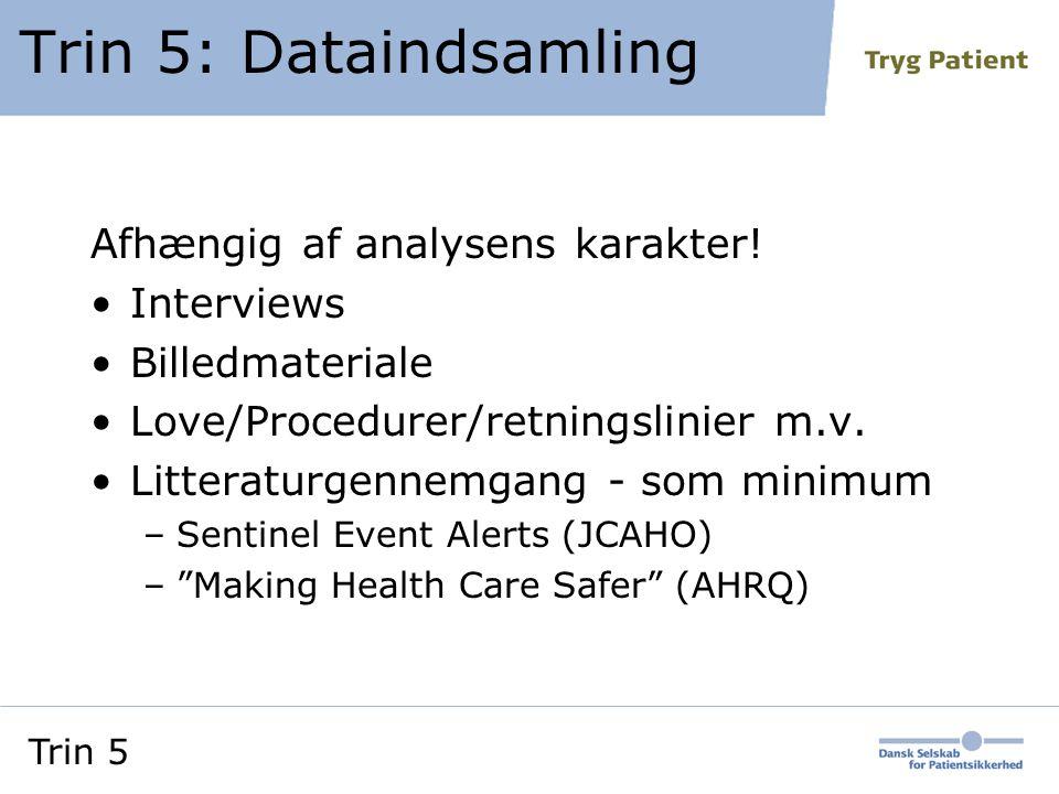 Trin 5: Dataindsamling Afhængig af analysens karakter! Interviews