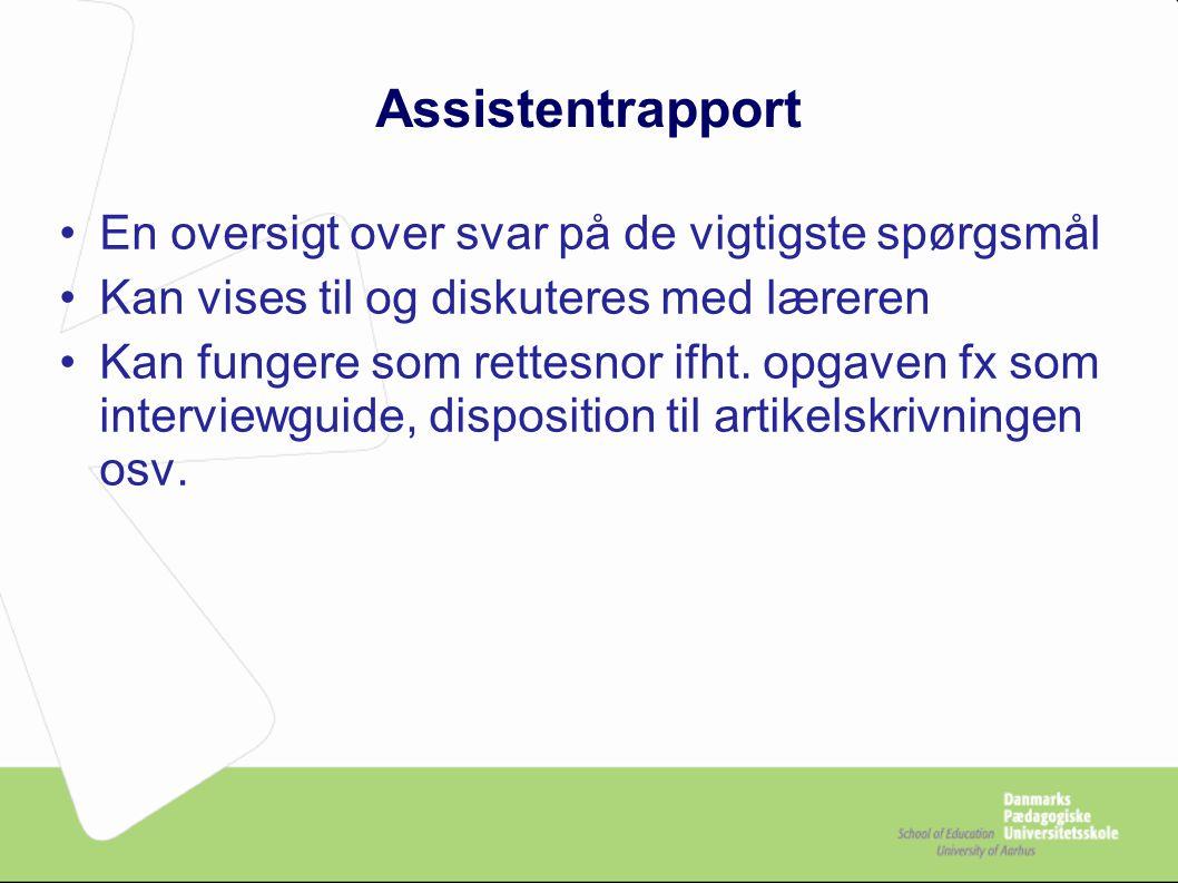 Assistentrapport En oversigt over svar på de vigtigste spørgsmål