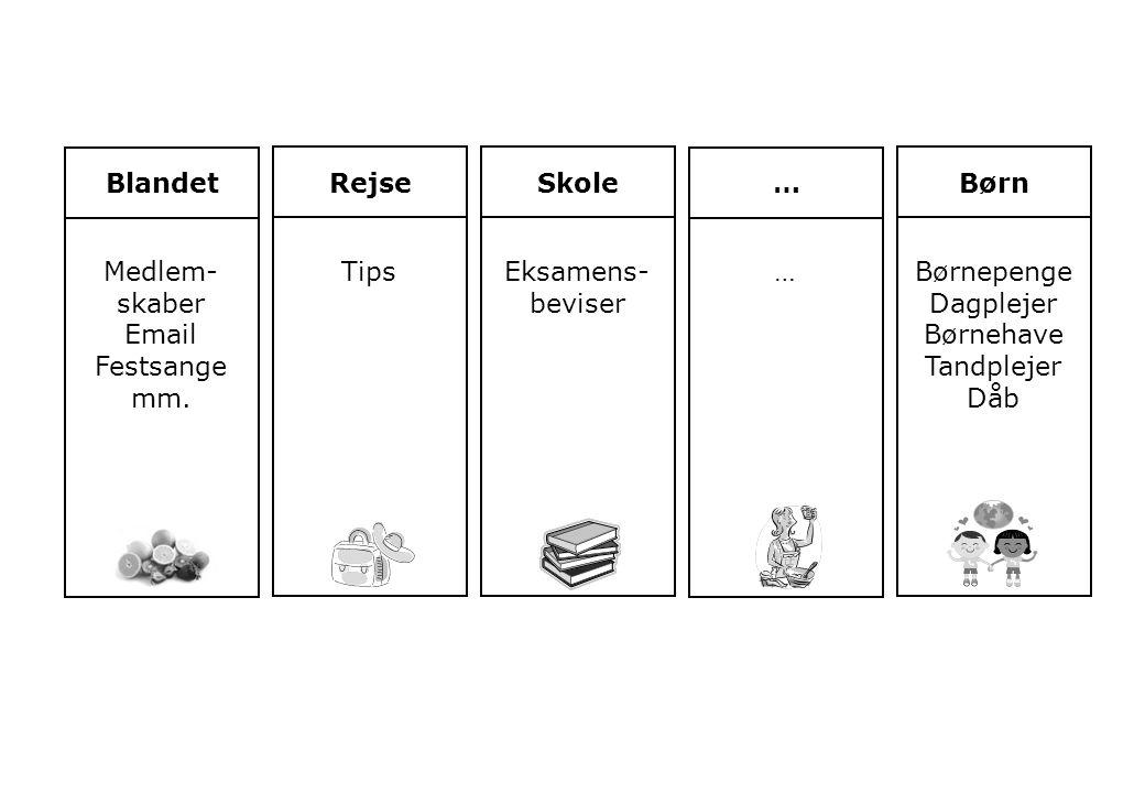 Blandet Rejse. Skole. … Børn. Medlem-skaber. Email. Festsange. mm. Tips. Eksamens-beviser.