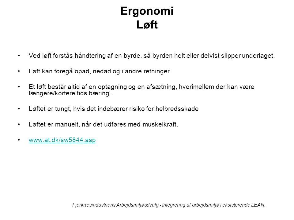 Ergonomi Løft Ved løft forstås håndtering af en byrde, så byrden helt eller delvist slipper underlaget.