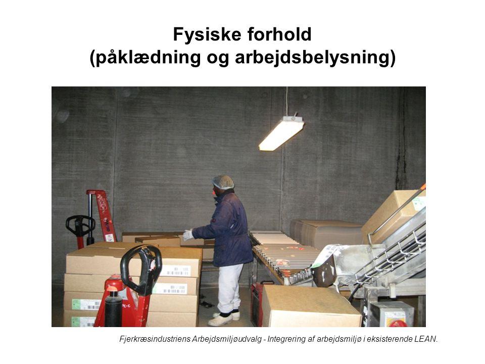 Fysiske forhold (påklædning og arbejdsbelysning)