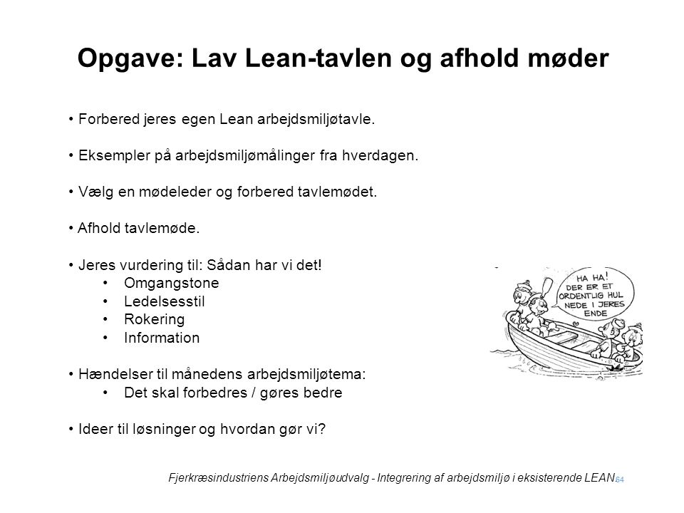 Opgave: Lav Lean-tavlen og afhold møder