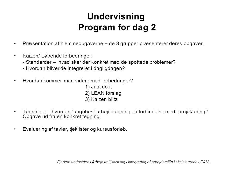 Undervisning Program for dag 2