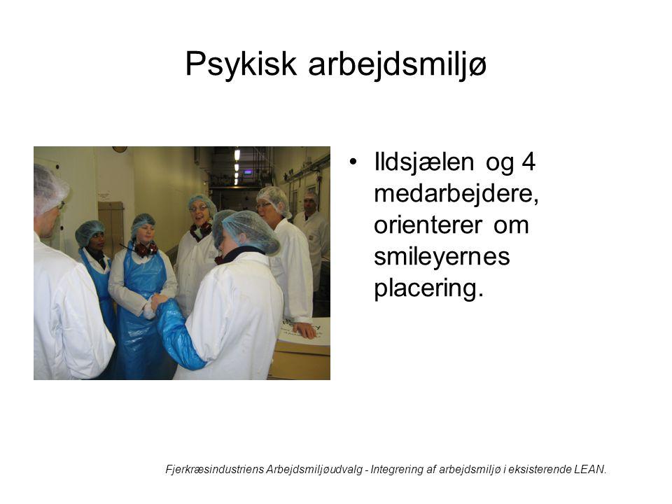 Psykisk arbejdsmiljø Ildsjælen og 4 medarbejdere, orienterer om smileyernes placering.