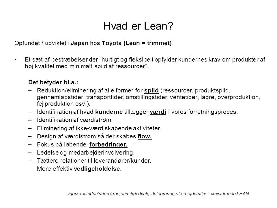 Hvad er Lean Opfundet / udviklet i Japan hos Toyota (Lean = trimmet)