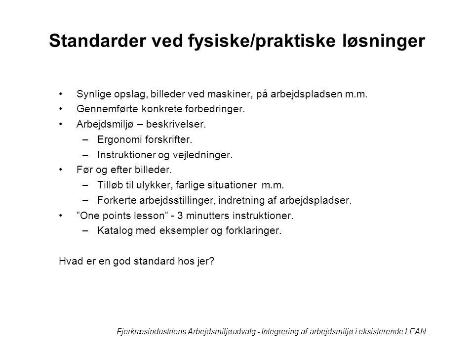Standarder ved fysiske/praktiske løsninger